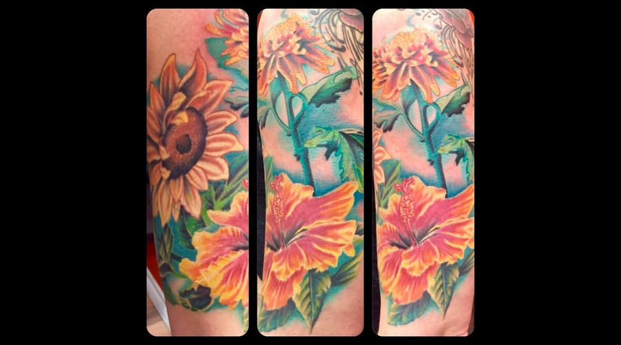 Colour  Realism  Colour  Tattoo  Tattoos  Floral  Flowers  Hibiscus Arm