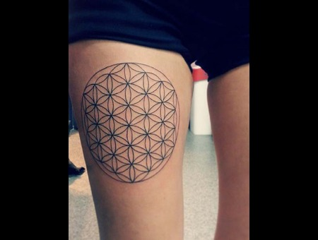 Flower Life Lines Circle Flower Of Life Tattoo Thigh