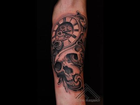 Skull Clock Filigree Cool Tattoo Forearm