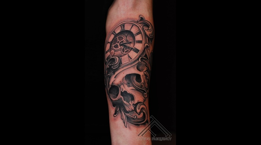Skull Clock Filigree Cool Tattoo Forearm