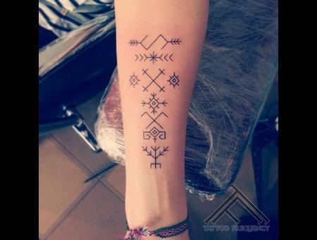 Line Sign Small Fine Latvian Tattoo Forearm
