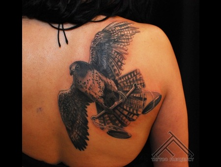 Falcon Libra Scales Bird Tattoo Back