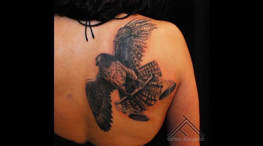 Falcon Libra Scales Bird Tattoo Back