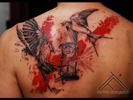 Swallow Clock Trash Polka Tattoo Back