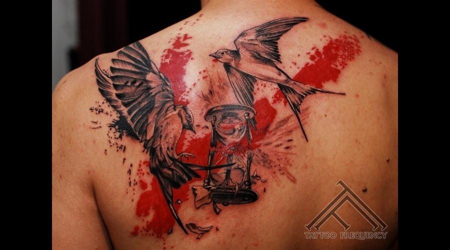 Swallow Clock Trash Polka Tattoo Back