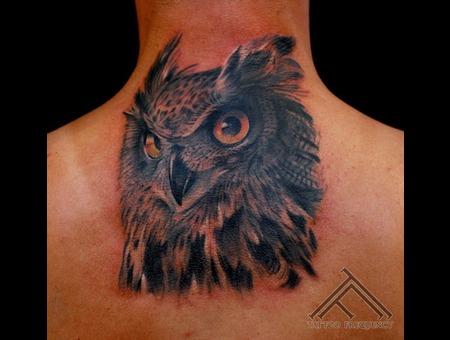 Owl Bird Head Tattoo Neck
