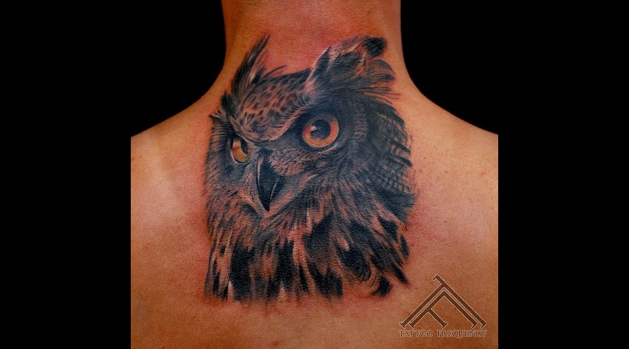 Owl Bird Head Tattoo Neck
