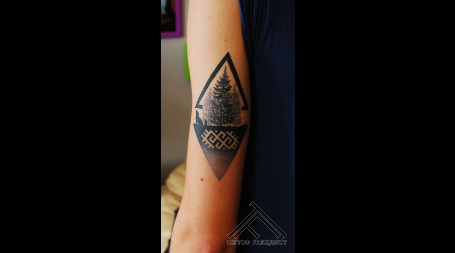 Pine Tree Forest Small Tattoo Arm
