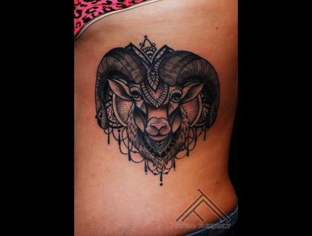 Ram Head Lines Tattoo Ribs Ribs