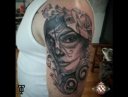 Dead Woman Rose Muerte Tattoo Arm