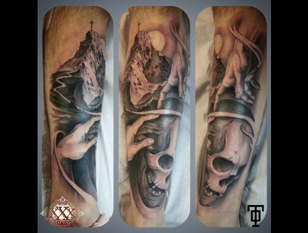 Skull Mountain Cross Christian Michelangelo Fingers Adam God Leg Tattoo Lower Leg
