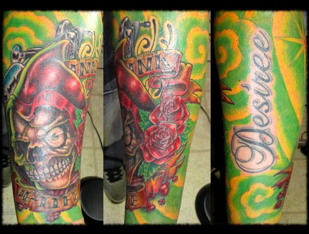 Reaper  Skull  Full Color  Sleeve Forearm