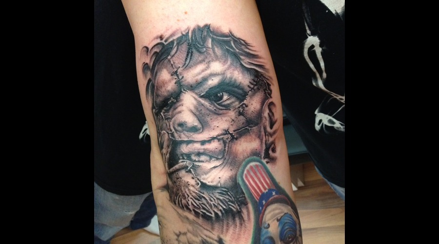 Leatherface  Portrait  Realism  Black And Grey Arm