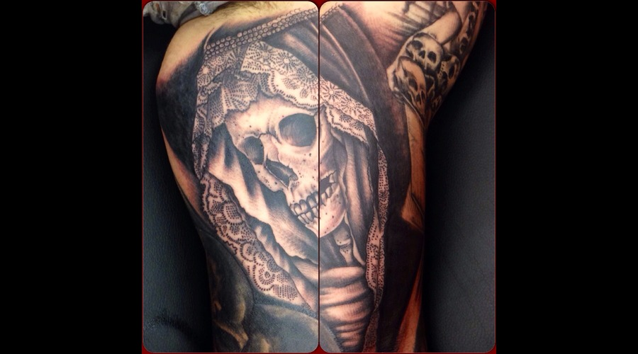 Skull  Lace  Black And Grey  Realism Arm