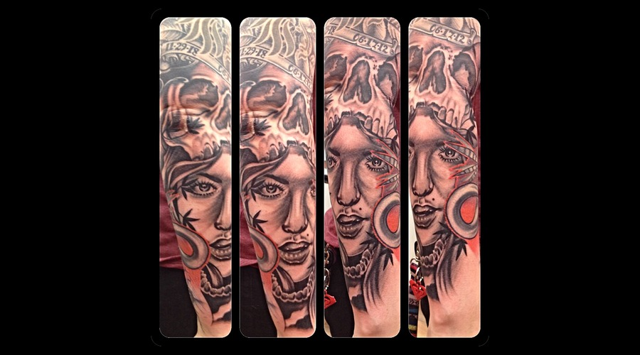 Skull  Portrait  Realism  Traditional  Black And Grey  Colour  Color Forearm