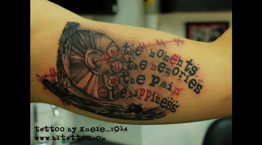 Cd Dj Mix Music Trash Brush Art Tattoo Arm