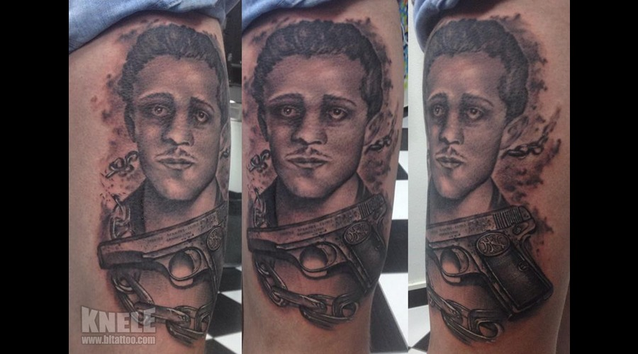 Portrait Gun Chain Art Tattoo