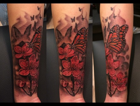 Flower Colour Butterfly Tattoo Arm