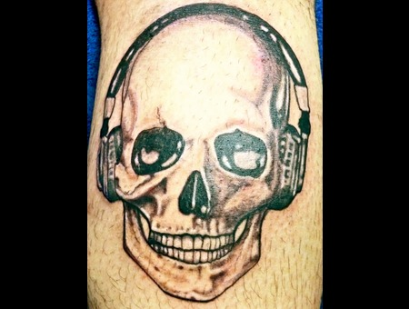 Skull N Headphones Lower Leg