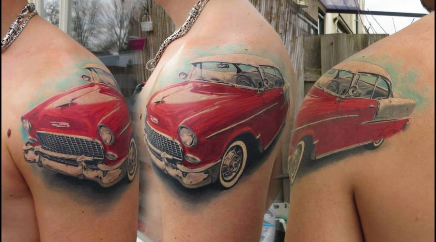 50's  Car  Tattoo  Realistic  Art  Realism Arm