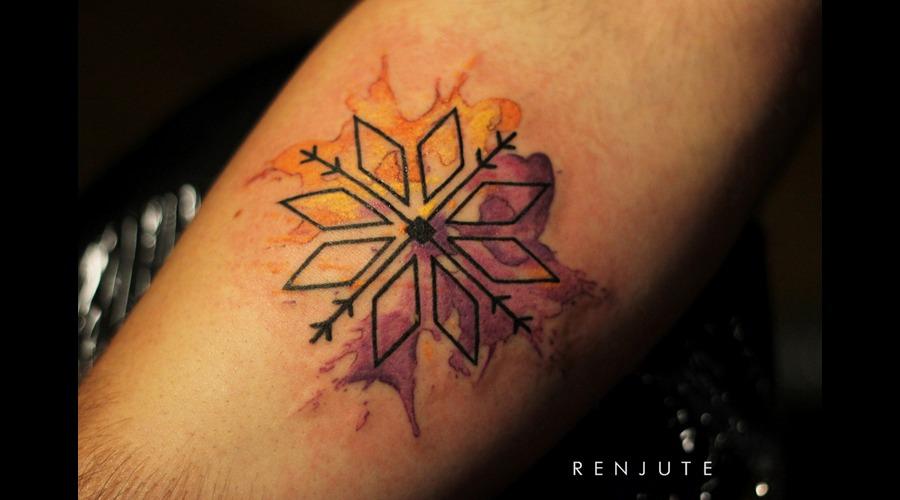 Tattoo  Latvian Signs  Latvia  Tattooriga  Watercolor  Lines  Renjute Forearm
