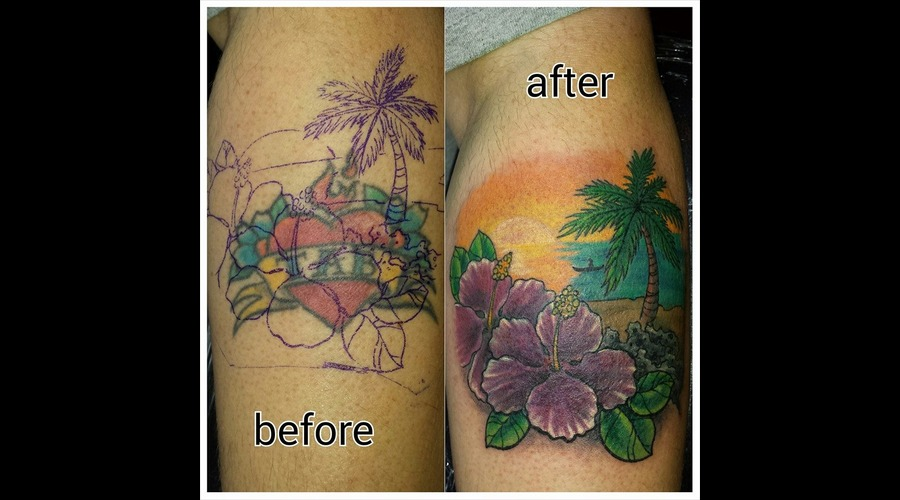 Cover Up Tattoo  Beach  Palm Tree  Sunset Forearm