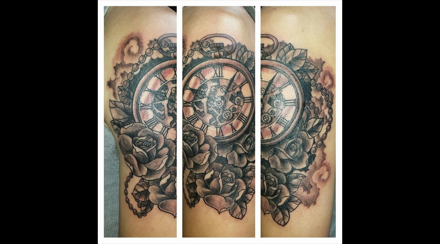 Watch Tattoo  Custom Tattoo  Roses  Black And Grey Arm