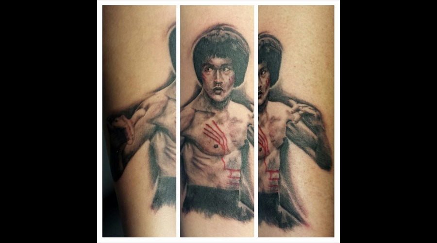 Bruce Lee  Tiny Portrait  Portrait Tattoo  Black And Grey Forearm