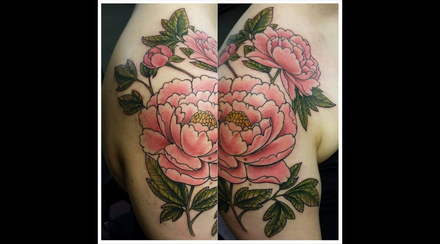 Peony  Peony Tattoo  Color Tattoo  Freehand Shoulder