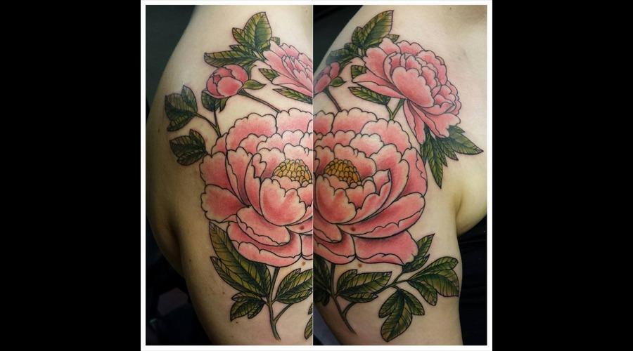 Peony  Peony Tattoo  Color Tattoo  Freehand Shoulder