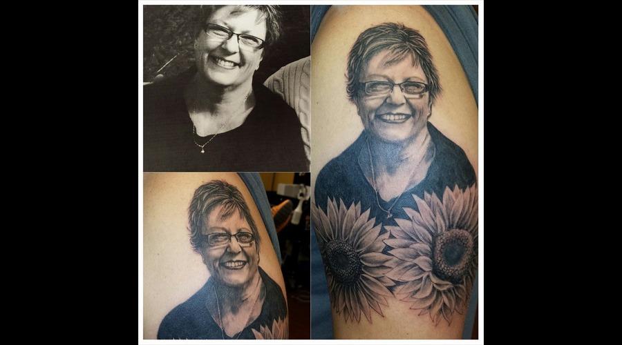 Portrait Tattoo  Portrait  Memorial  Black And Grey Arm