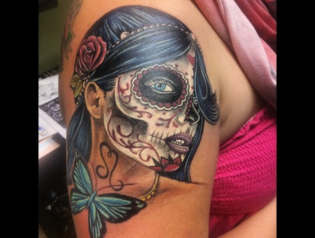 Day Of The Dead  Girl  Face  Butterfly Arm