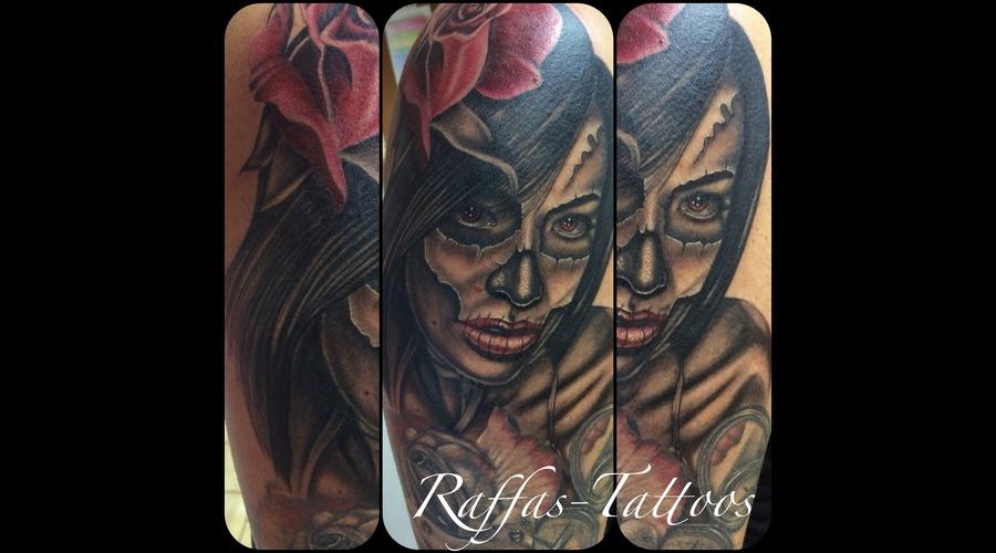 Aaliyah Muerte La Catrina Rose Flower  Arm
