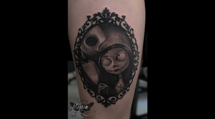 Jack & Sally Tattoo  Tim Burton Thigh