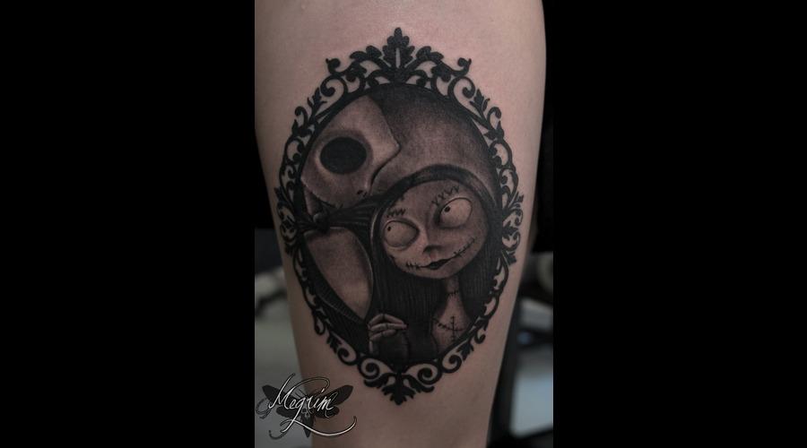 Jack & Sally Tattoo  Tim Burton Thigh