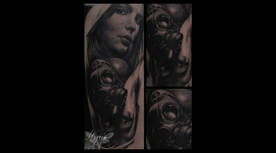 Woman Face  Gas Mask Tattoo Arm