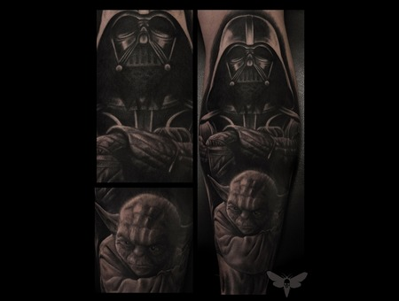 Star Wars Tattoo  Star Wars  Yoda  Darth Vader  Darth Vader Tattoo Lower Leg