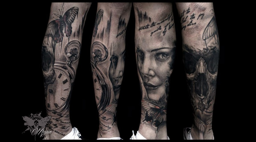 Skull  Skull Tattoo  Woman Face  Butterfly  Clock Lower Leg