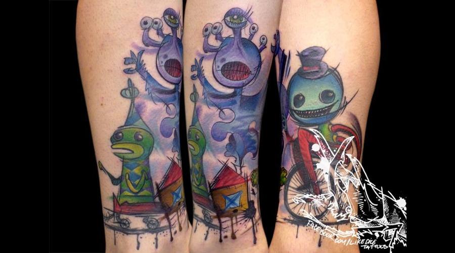 Tattoo  Trash  Art  Watercolor Lower Leg