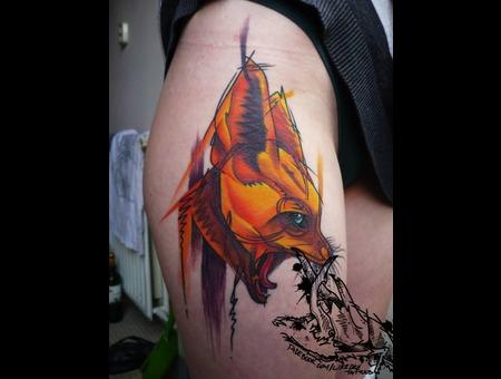 Tattoo  Trash  Fox  Art  Watercolor Thigh