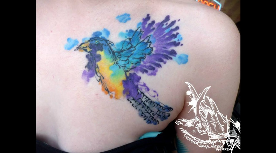 Tattoo  Trash  Bird  Art  Watercolor Back