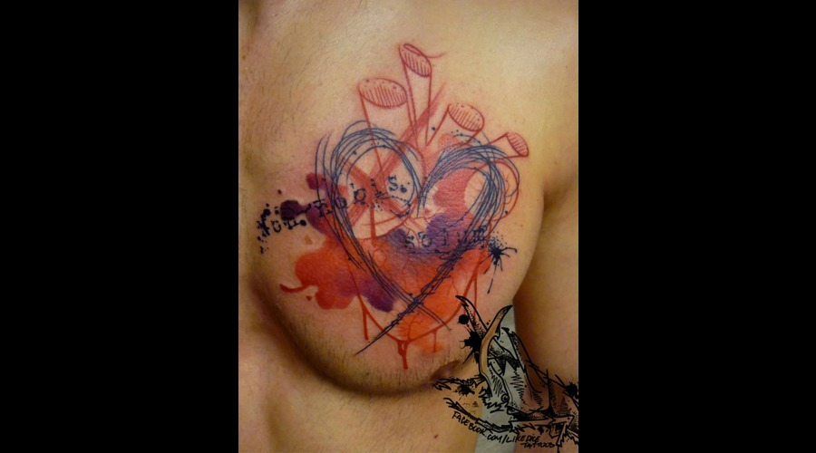 Tattoo  Trash  Heart  Art  Watercolor Chest