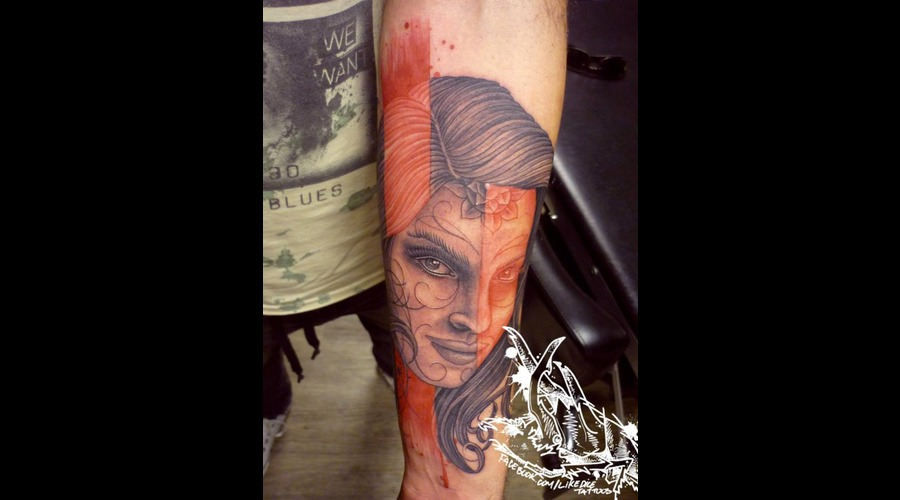 Tattoo  Trash  Portrait  Art  Watercolor Forearm