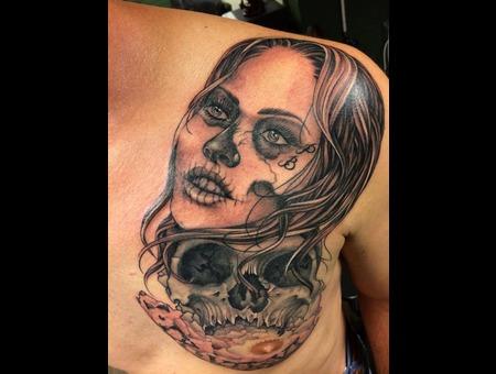 Black  Grey  Tattoo  Art  Portrait  Skull Back