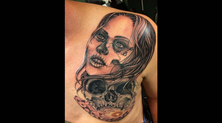Black  Grey  Tattoo  Art  Portrait  Skull Back
