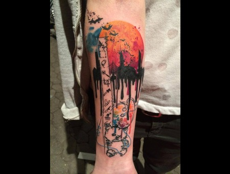 Tattoo  Trash  Art  Watercolor Forearm
