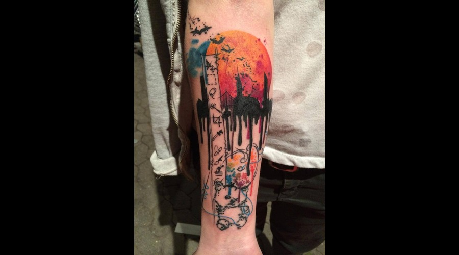Tattoo  Trash  Art  Watercolor Forearm