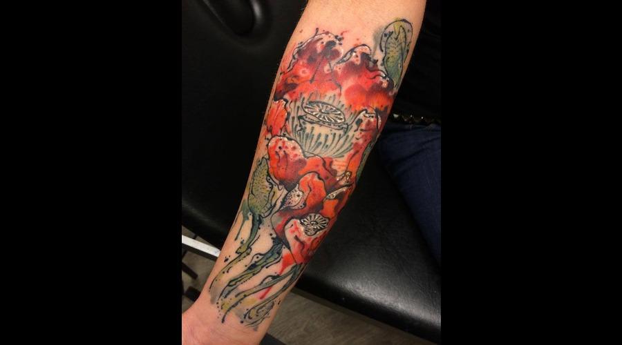 Tattoo  Trash  Flower  Art  Watercolor Forearm