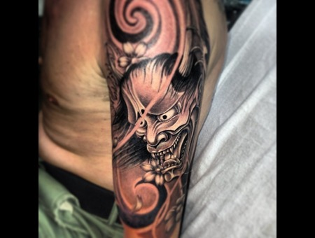 Hanya Mask Freehand Tattoo Arm