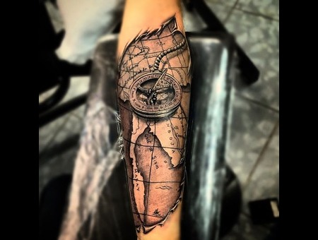 Compas Old Map Tattoo 3d Forearm